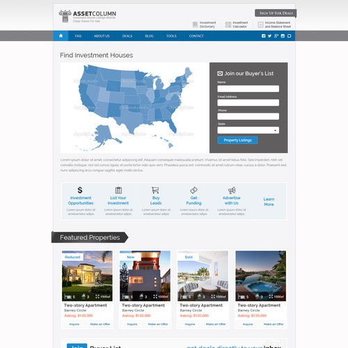 Investment Houses Listings Website / Cheap Houses For Sale at  AssetColumn.com