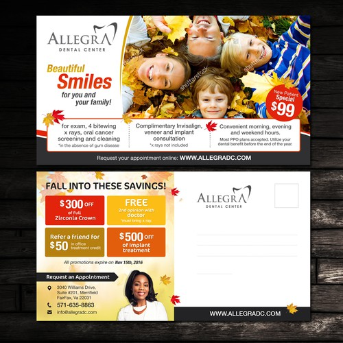 Fall and Holiday Postcard for Allegra Dental