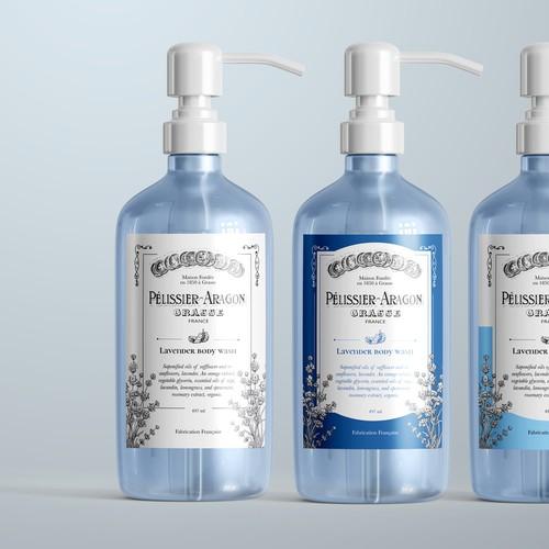 Pelissier-Aragon body wash label