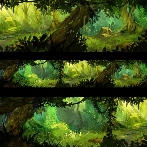 Panoramic Background Painting for a Fantasy Forest