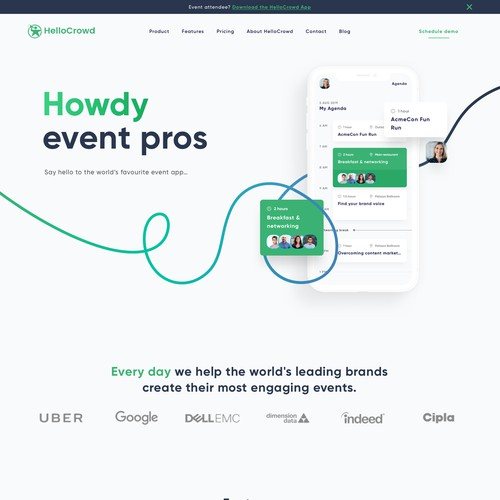 Modern design for an event planning app