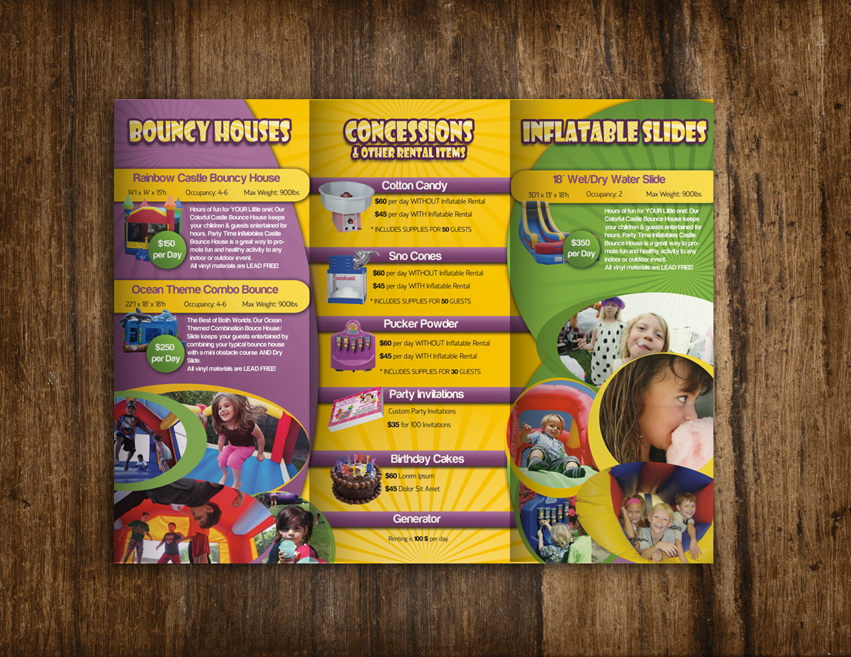 brochure design for Party Time Inflatables