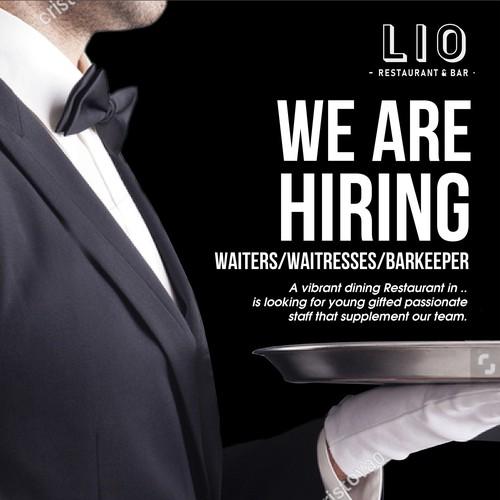 Job recruitment Poster for modern Premium Restaurant