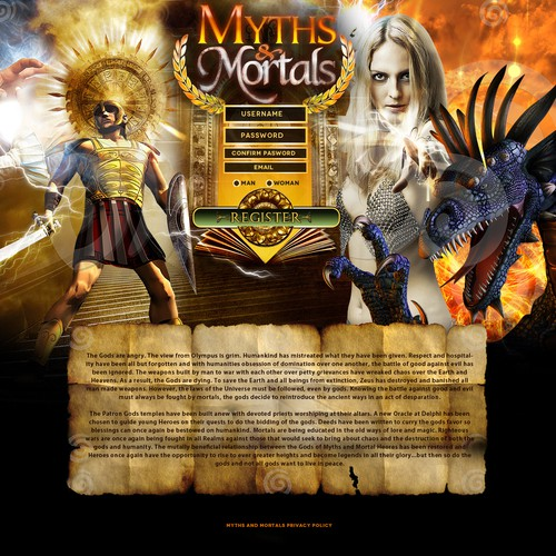 website design for Myths And Mortals