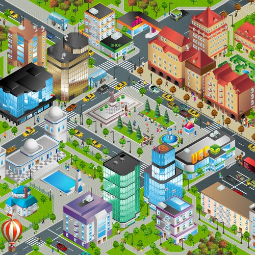 Vector Town Square Illustration - Fun, Clean, Colorful