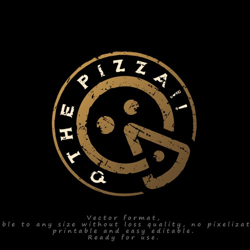 """Logo for """"Q the pizza!!"""""""