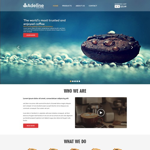Create a capturing e-commerce Adeline Coffee website beautifully showcase our products
