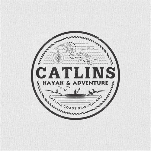 classic minimalists adventure logo for Catlins Kayak & Adventure