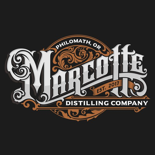 "Philomath, Oregon "" Marcotte Distilling Co. logo"