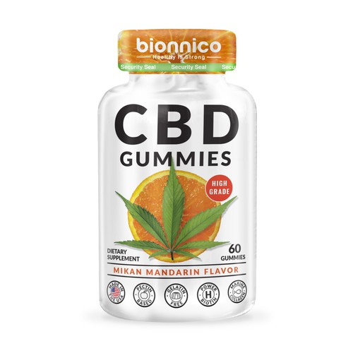 bold shrink sleeve label for cbd gummies