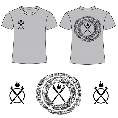 Illustrated Tshirt Design for Samoan Fire Knife Dance Show