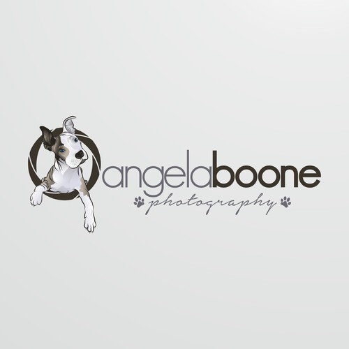 Logo for photographer using a pit bull puppy