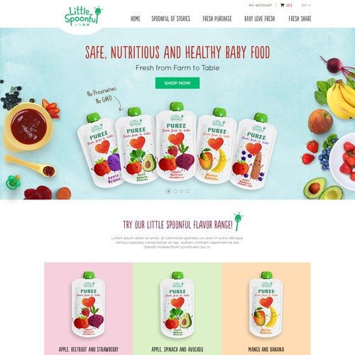 Fresh, Cute and Colourful web page design for organic baby food company