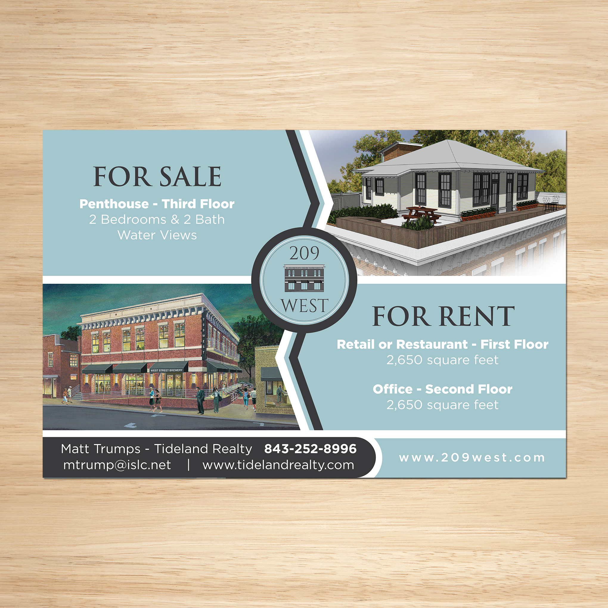 209 West For Sale and Rent Sign