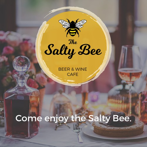 Logo concept for a beer and wine cafe acalled The Salty Bee.