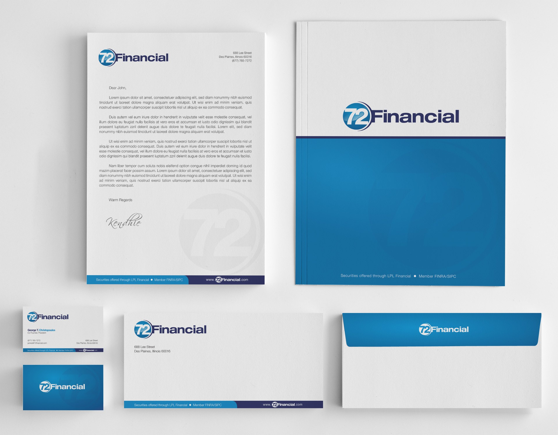 Create the next stationery for 72 Financial