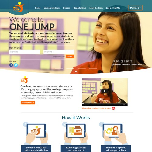 Create a hip landing page for One Jump