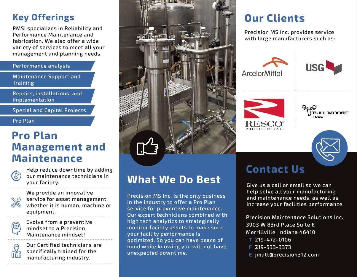 Precision MS trifold brochure