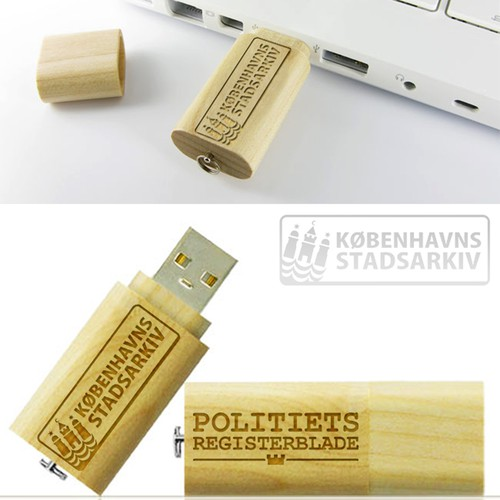 Create a simple design for a wooden USB stick for www.politietsregisterblade.dk