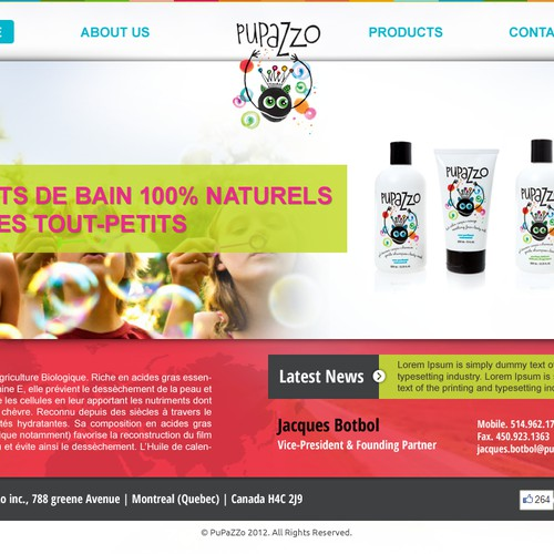 website design for Health&Beauty company, product for kids