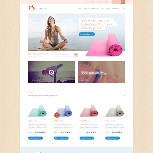 Design a killer website for the exciting yoga + fitness brand ParadigmFit.