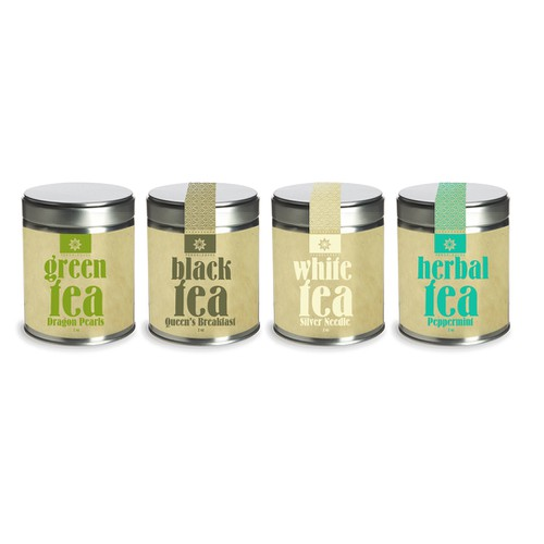 Create a clean, fresh and bold label for a premium tea line.
