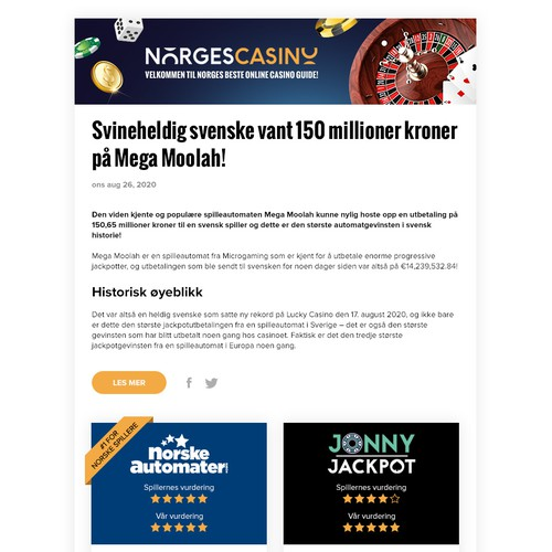 Email design for Norges Casino