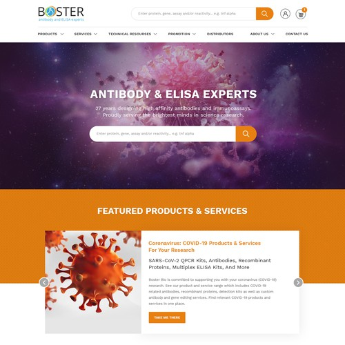 Design a homepage for a biotech company