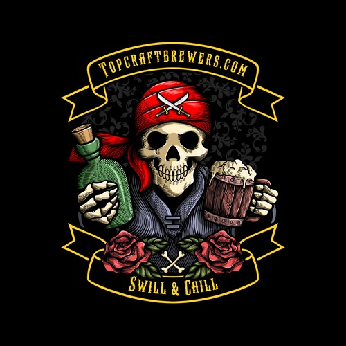 Pirate Skull Illustration with Engraving Style for Radoutdoor