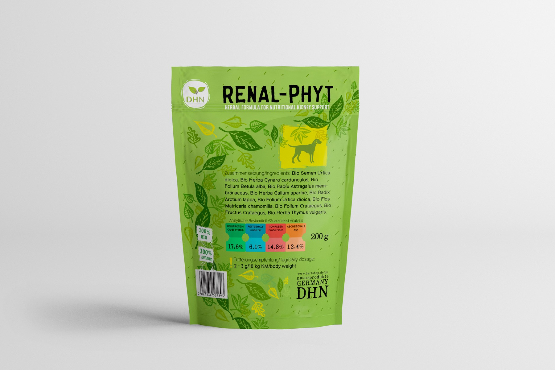 Cool Pouch design for herbal pet supplements.