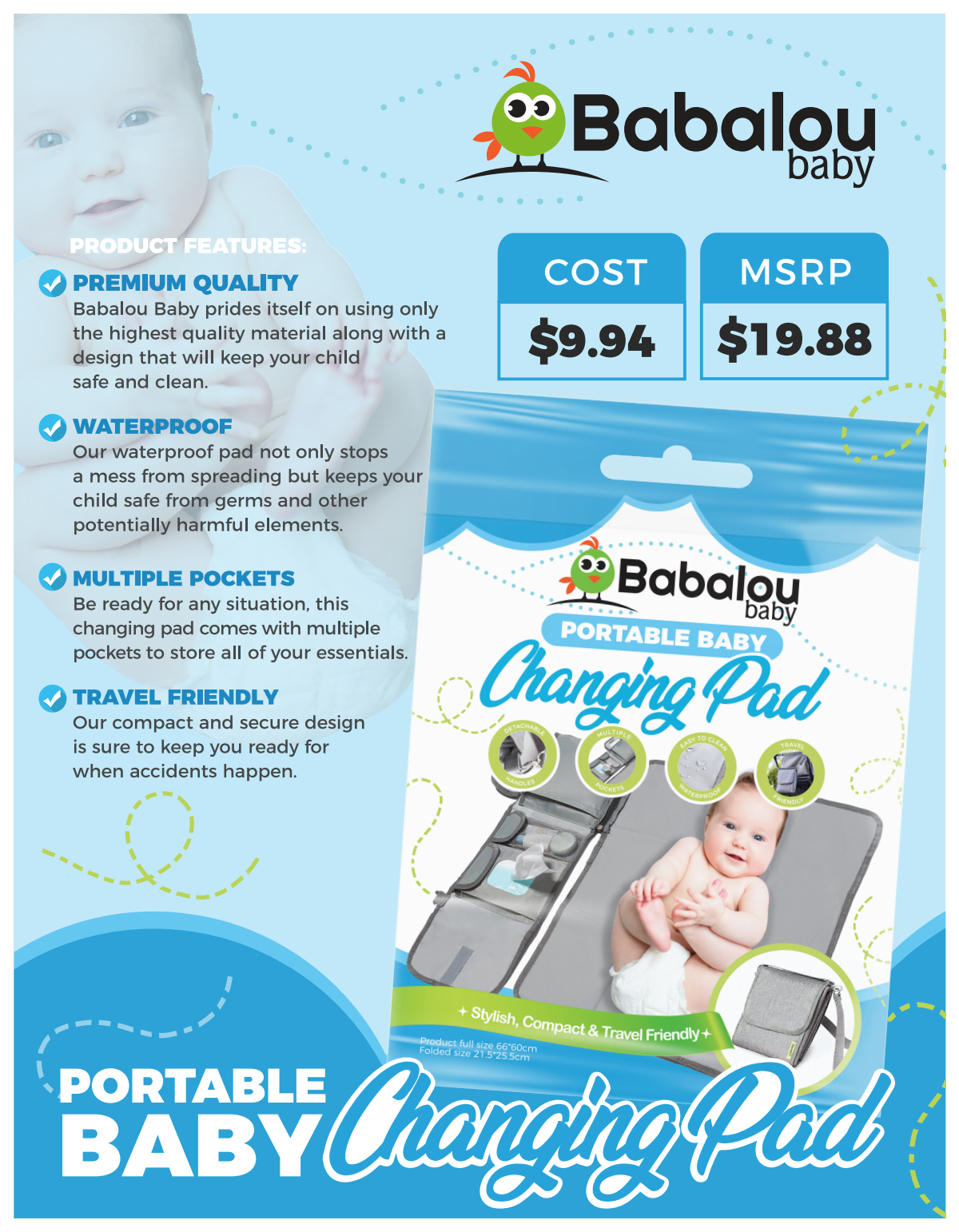 Packaging and Sale Sheet for Baby changing Pad