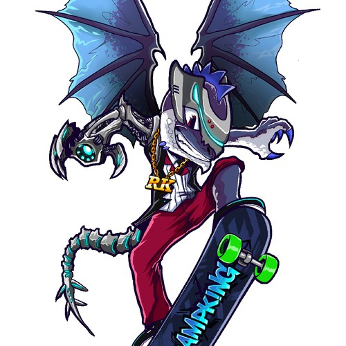 Design a dragon for skateboard design