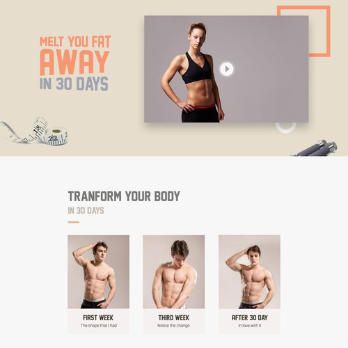 Melt the Fat - Physical Fitness Landing pagedesign