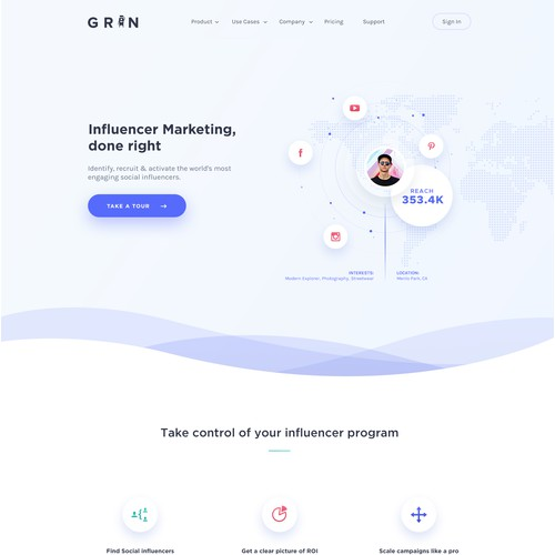 Homepage for influencer marketing platform.