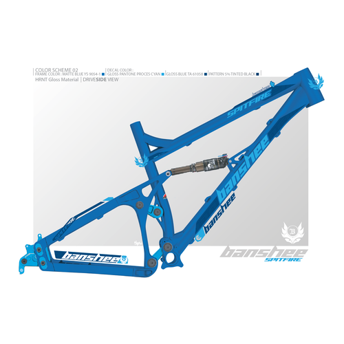 Design bike frame decals and choose cool colour combos for the BansheeSpitfire