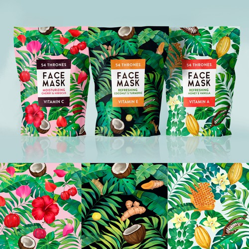 Tropical face mask design for cosmetic brand