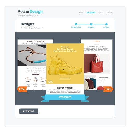 Web app design for email template engine