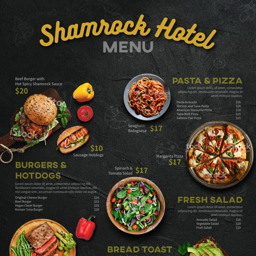 Menu Design for Shamrock Hotel