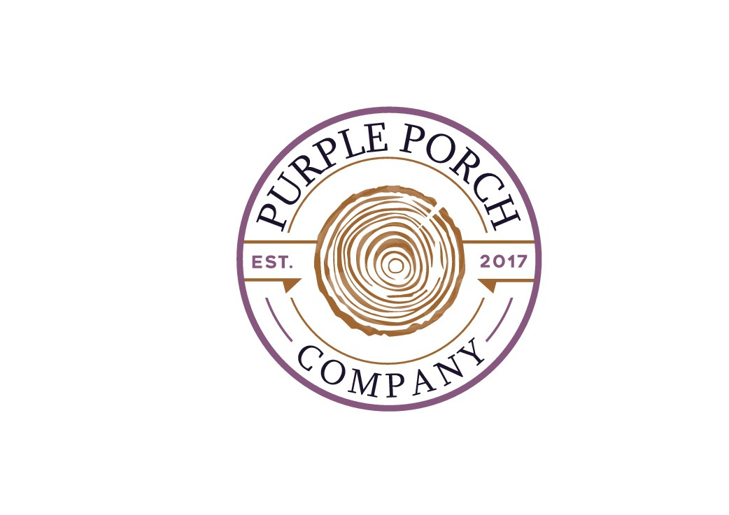 Design a logo that represents hand burned wood products (home decor and cutting boards) for Purple Porch Co