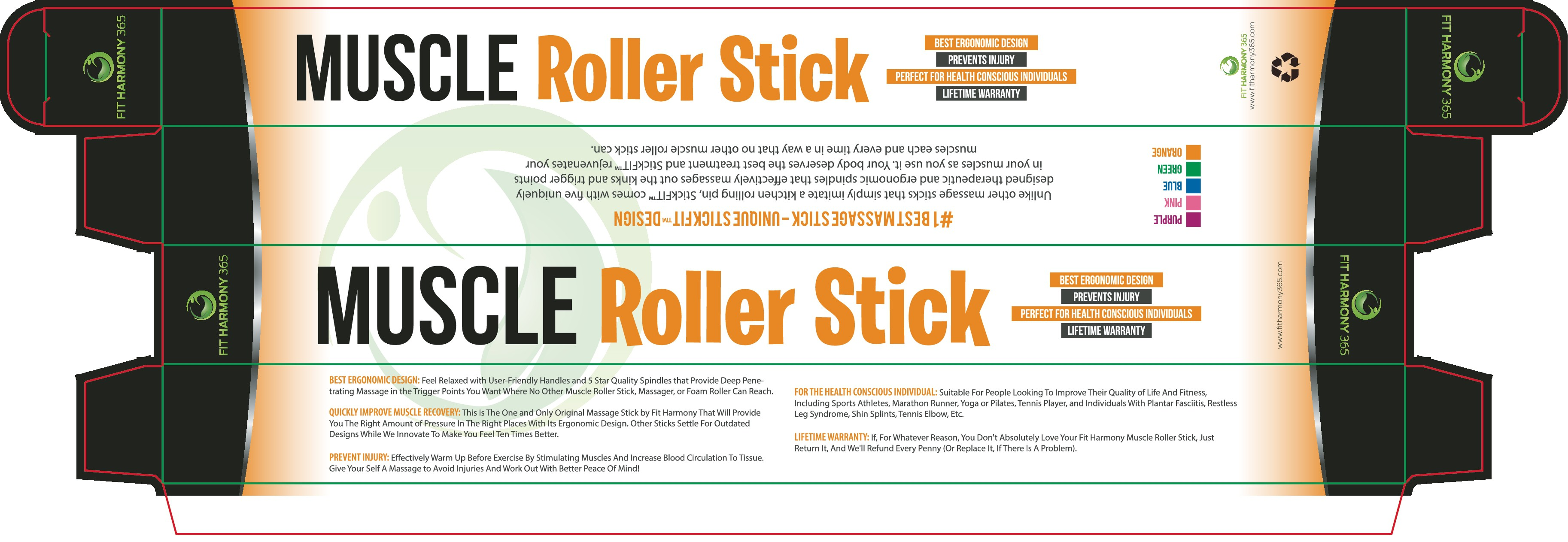 Create a box design for Muscle Roller Stick