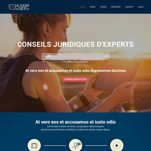Pages for a FRENCH LEGAL WEB TV