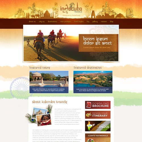 Design a beautiful homepage for a travel website , selling indian destinations & packages