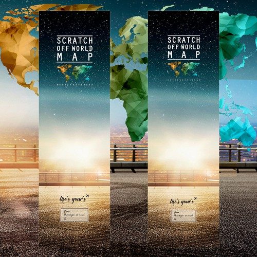 Create a packaging design for tube of World map