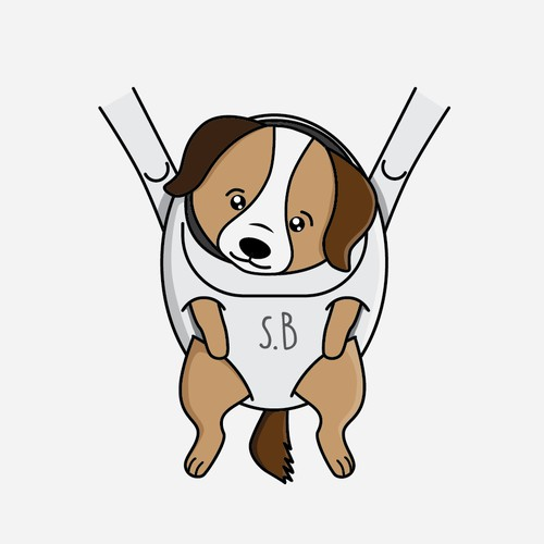 A puppy illustration in baby carrier