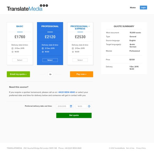quote page for translatemedia