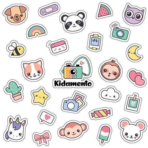 Set of stickers with cute animals