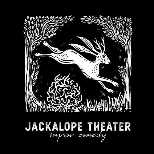 Linocut Jackalope Illustration/ Logo