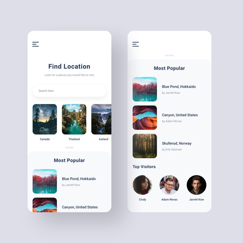 Let's Find a Place - App User Interface
