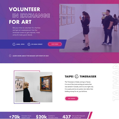 Landing page for an art event
