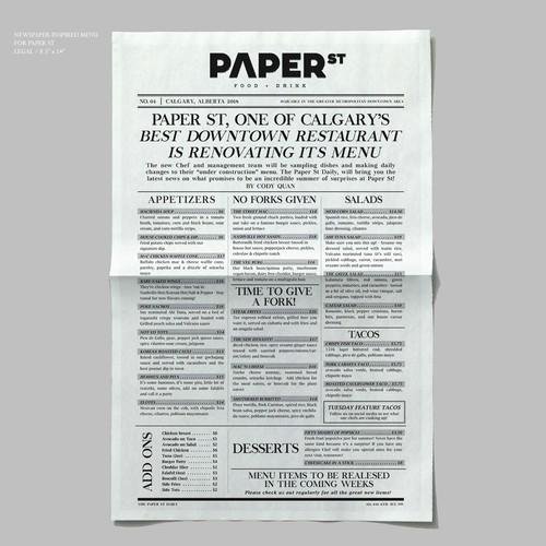 Newspaper-inspired Menu Design for Paper St